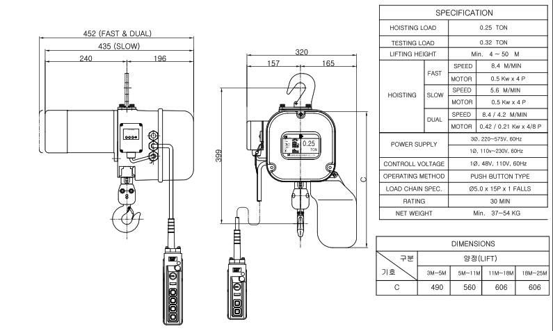 Palang xích điện loại cố định kg
