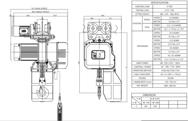 palang xích điện chạy trên dầm 3000kg