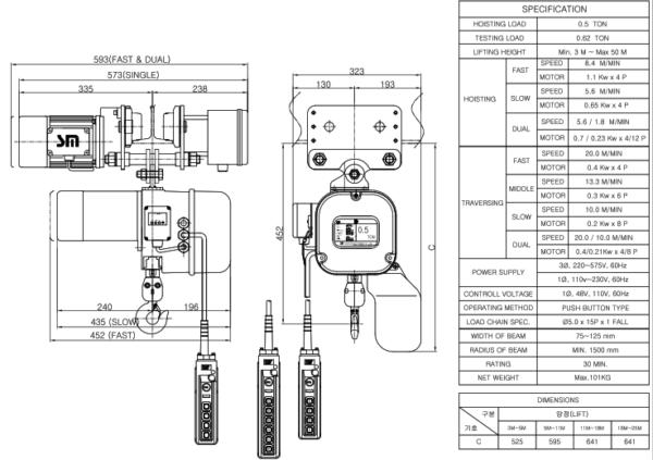 palang xích điện chạy trên dầm 500kg
