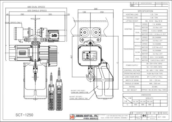Bản vẽ pa lăng xích điện 1.25 tấn dòng SCT
