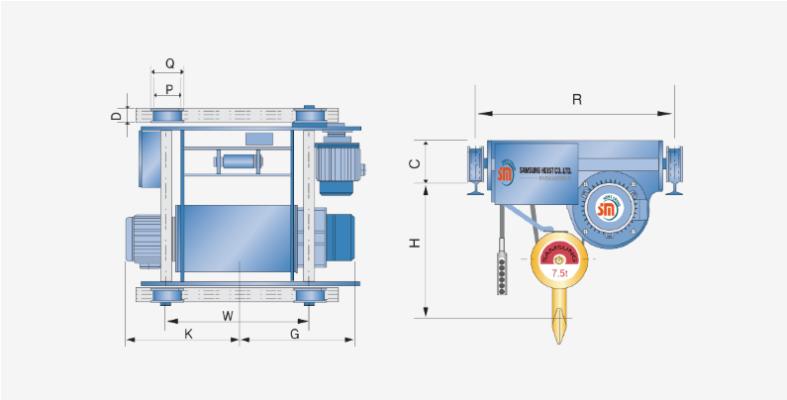 bản vẽ kỹ thuật pa lăng cáp điện đầu thấp