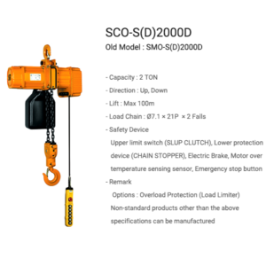 Pa lang xích điện 2 tấn cố định -dòng SCO - 2 falls