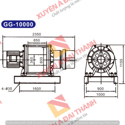 Tời điện 10 tấn Đài Loan KIO - Winch Model GG- 10000