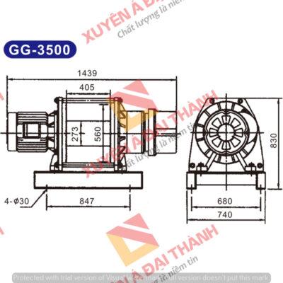 Tời điện 3,5 tấn Đài Loan KIO - Winch Model GG - 3500