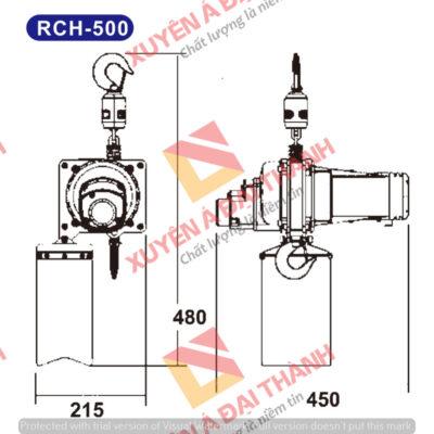 Pa lăng xích điện cố định 500kg KIO- Winch Đài loan Model RCH-500