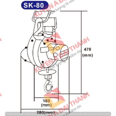 Tời treo mini 80kg KIO- Winch Đài Loan Model SK- 80