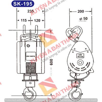 Tời treo 195kg mini KIO- Winch Đài Loan Model SK- 195